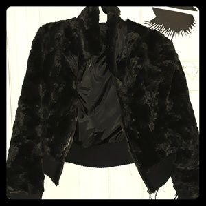 Style & Co Black Soft Warm Fur Long Sleeve Jacket